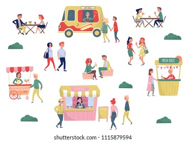 Flat vector set of young people and street fast food. Coffee break and lunch time. Ice-cream cart, hot-dog truck, stall with fresh juice