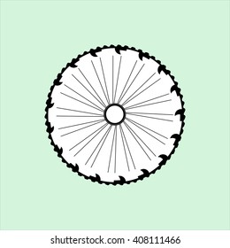 flat vector silhouette of a bicycle wheel with tyre and spokes