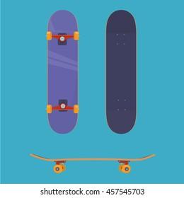 flat vector skateboard, Skateboard from all sides, extreme, sport, purple skateboard