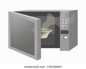 Flat vector stock illustration on a white background. An open microwave in gray colors is drawn, it has a plate