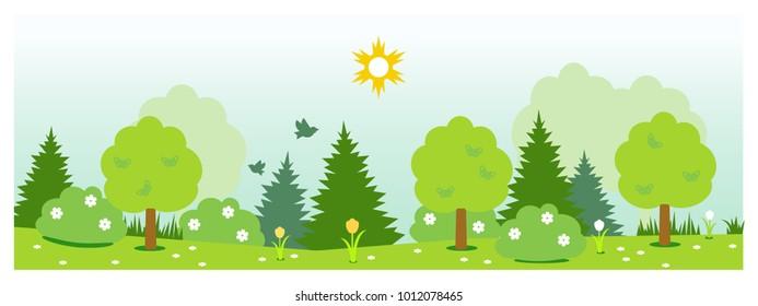 Flat vector summer nature landscape.
