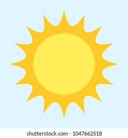 Flat vector sun icon logo isolated on light blue background symbol sign or pictogram of summer copyspace cartoon design yellow sunbeam sunshine sunlight orange shine sunrays Sunday  holiday sea beach