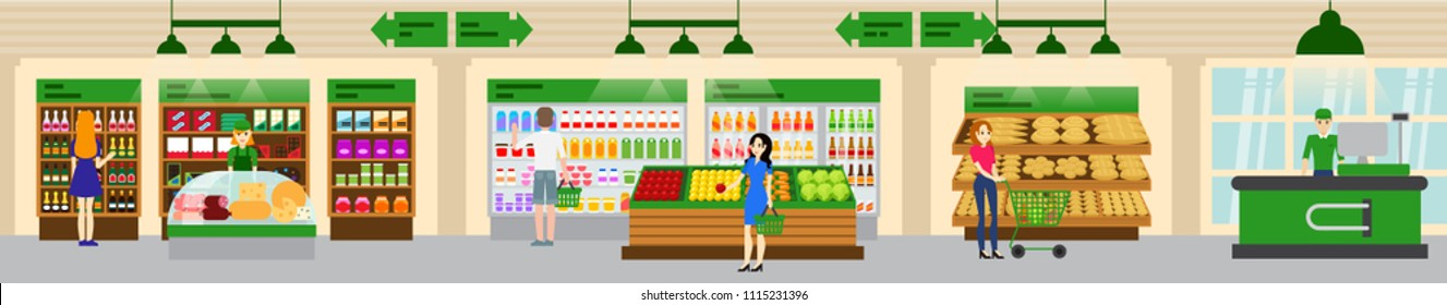 Flat vector supermarket high-detailed interior. Shopping people illustration. Men and women buy food in a shop.  Shopping mall with with various food products: cheese, bread, sausage, fruits, milk.