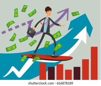 Flat vector surfer businessman ride on red surfboard with money on arrow graph background