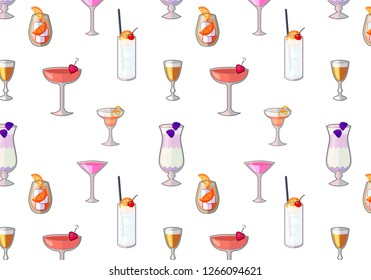 Flat Vector, Tasty Party Cocktails. Isolated objects on white background. seamless background