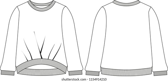 flat vector technical sketch for fashion clothing sweatshirt