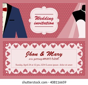 Flat vector template for wedding invitation with just married couple: groom and bride. Background with tuxedo and wedding dress for marriage invitation card. Invitation to wedding party or ceremony.