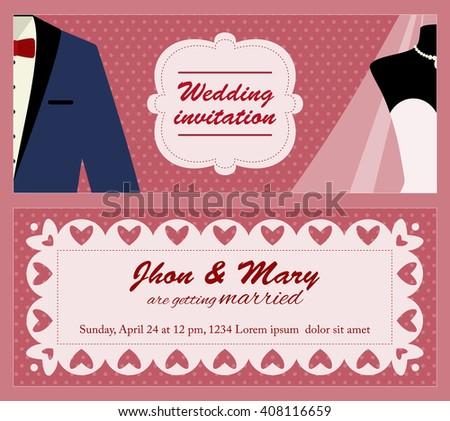 flat vector template wedding invitation just のベクター画像素材
