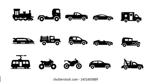 flat vector vector transportation icons including car, van, motorcycle, truck, mini car, limo, isolated on white background