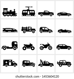 flat vector vector transportation icons including car, van, motorcycle, truck, isolated on white background