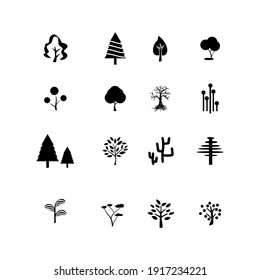 Flat vector tree collection. Set of isolated flat icons forest trees.