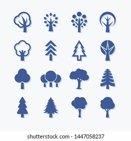 Flat vector trees set. Pictogram style. Flat forest and park icon - stock vector.