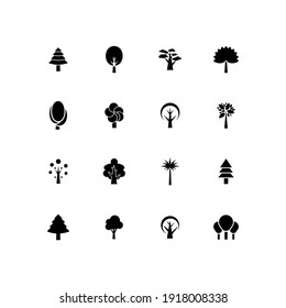 Flat vector trees set. Tree icons set in a modern Pictogram style and flat style.