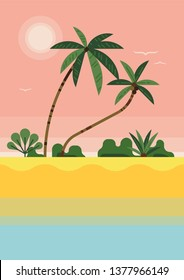Flat vector tropical beach background. Ideal for summer vacation web and graphic design