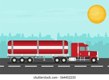 Flat vector truck. Vector illustration.