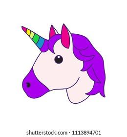 Flat vector unicorn emoji illustration