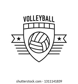 A flat vector volleyball crest featuring a simple volleyball icon in the middle.