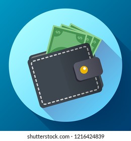 Flat Vector Wallet and Money Icon with long shadow
