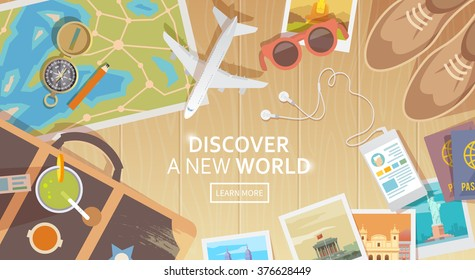 Flat vector web banner on the theme of travel , vacation, adventure. Preparing for your journey. Outfit of modern traveler. Objects on wooden background. Top view. Discover a new world. #1