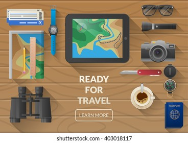 Flat vector web banner on the theme of travel , vacation, adventure. Preparing for your journey. Outfit of modern traveler. Objects on wooden background. Top view. Ready for Summer.