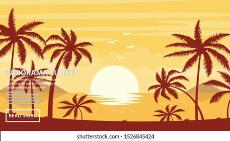 Flat vector web banners on the theme of beach sunset, sea, ocean, sunny, sunshine, paradise, coastline. Flat Vector Illustration. Flat Design Background. Web vector illustration. Vector Background.