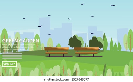 Flat vector web banners on the theme of Garden City, Landscape, spring, summer, public, urban. Flat Vector Illustration. Flat Design Background. Web vector illustration. Vector Background. - Shutterstock ID 1527648077