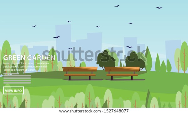 Flat vector web banners on the theme of Garden City, Landscape, spring, summer, public, urban. Flat Vector Illustration. Flat Design Background. Web vector illustration. Vector Background.