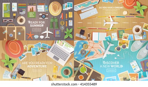 Flat vector web banners set on the theme of travel , vacation, adventure. Preparing for your journey. Outfit of modern traveler. Objects on wooden background. Top view. Ready for Summer. #1