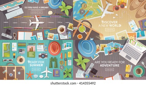Flat vector web banners set on the theme of travel , vacation, adventure. Preparing for your journey. Outfit of modern traveler. Objects on wooden background. Top view. Ready for Summer. #2