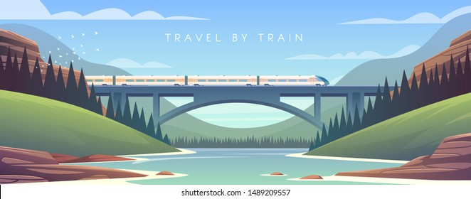 Flat vector web illustration on the theme of travel by train, steam locomotive, mountain landscape railway vacation adventure. Sunny day. The bridge across the river.