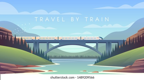Flat vector web illustration on the theme of travel by train, steam locomotive, vacation, mountain landscape, railway, adventure. Sunny day. The bridge across the river.