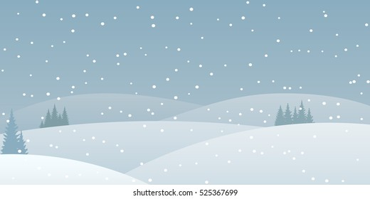 Flat vector winter landscape.