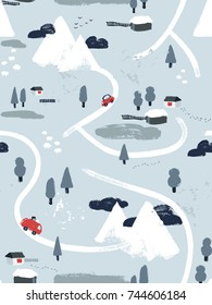 Flat vector winter snowy lanscape seamless pattern. Small village or town with cars, houses and roads in the mountains. Map view hand-drawn illustration.