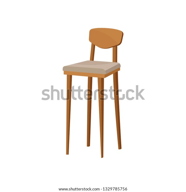 Pleasant Flat Vector Wooden Bar Stool Backrest Stock Vector Royalty Dailytribune Chair Design For Home Dailytribuneorg