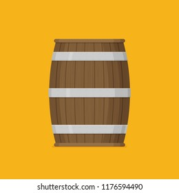 Flat vector Wooden barrel icon