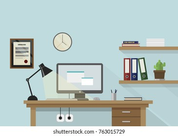 Flat vector workplace illustration with monitor, lamp, shelves with books and plant and clock on wall