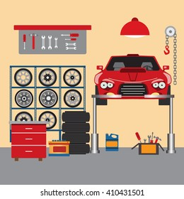Flat vector workshop car repair