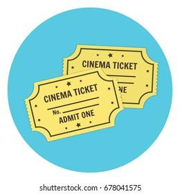 Flat vector yellow retro cinema tickets icon. Colorful cartoon cinematography symbol for print, design, banner