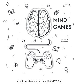Flat, vector.Line drawing stylized sticker.Images of the brain connected to the controller.