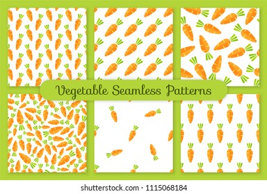 Flat vegetable seamless pattern collection. Retro style trendy background ornament set with carrot vegetables in bright orange color. Cute vector illustration for wrapping paper or restaurant menu