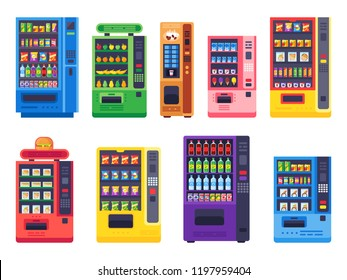 Flat vending machines. Snacks food, ice cold drinks and trading candy or snack machine. Coffee, healthy vegetables and burger machines vector isolated icons illustration set