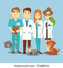 Flat veterinarians staff with cute animals. Veterinary and cartoon animals, vector illustration