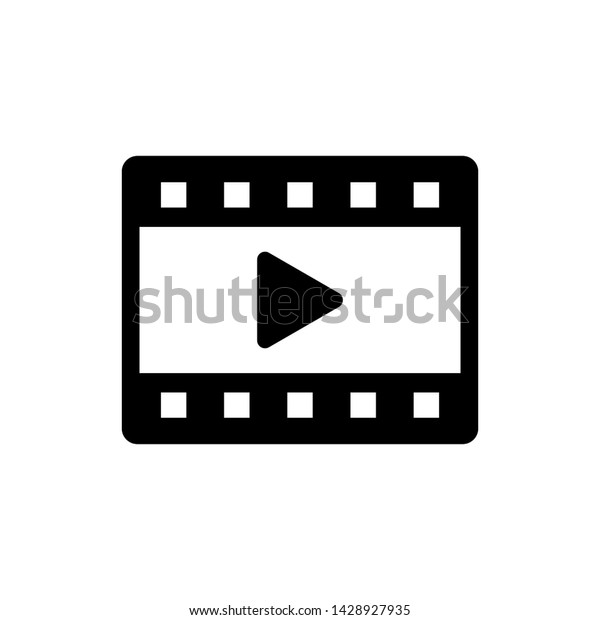 Flat Video Music Tv Movie Icon Stock Vector (Royalty Free