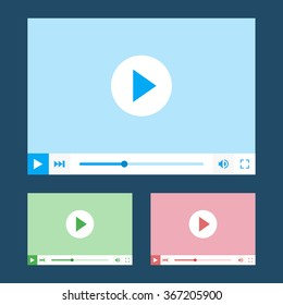 Flat video player interface, template for web and mobile apps. Video Player mockup. Vector illustration. EPS10.