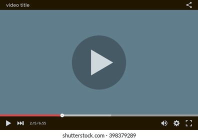 Flat video player interface for web and mobile apps. Vector illustration, EPS10.