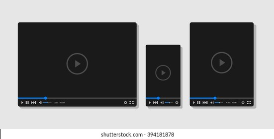 Flat video player template for web, tablet and mobile apps
