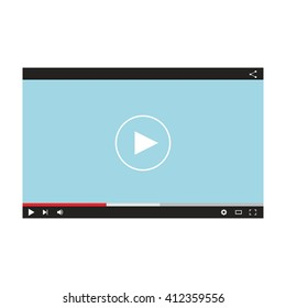 Flat video player template for web and mobile apps.  Internet player vector illustration.