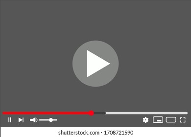 Flat video player for web. EPS 10. Vector