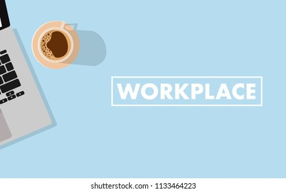 Flat view top down to the working space table with laptop and coffee with copy space for your text -workplace