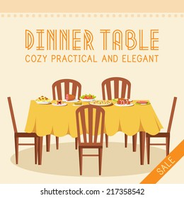 Flat vintage dinner table with many food background vector illustration concept